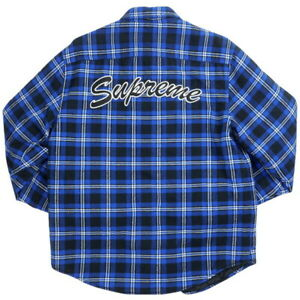 SUPREME 19AW Arc Logo Quilted Flannel LONG SLEEVE Shirt BLUE S