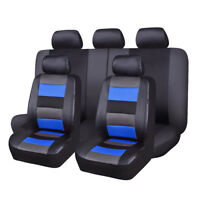 Car Seat Covers Set PU Leather Mesh Breathable Universal  11 PCS Black Blue