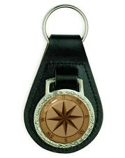 NAUTICAL COMPASS EFFECT LEATHER KEYRING