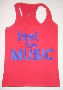 Zumba Feel The Music Pink Purple Racerback Tank Top Large L Workout Shirt
