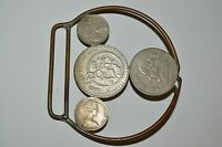 Vintage Custom Handmade Large See Through Coin Collector Money Belt Buckle Rare