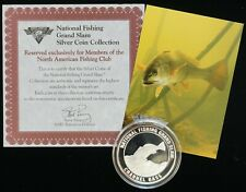 National Fishing Grand Slam .999 Silver 1 ozt Proof Round Channel Bass B4886