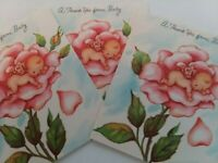 3 UNUSED 1950s Vtg Tiny BABY in PINK Rose Thank You From Baby GREETING CARDS
