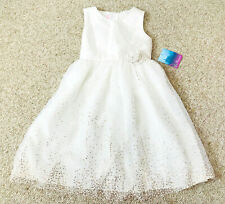 La Princess White Gold Sparkly Tulle Holiday Winter Formal Party Dress Flower 6X