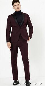 """Mens M&S Burgundy Slim Fit Dinner Suit - 40"""" Jacket & 36"""" Trousers BNWT rrp £139"""