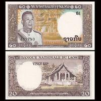 Kip Year ND Pathet Government Uncirculated 20 Laos P-21 Twenty