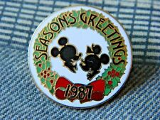 Disneyland Mickey Mouse & Minnie Mouse Seasons Greetings Pin (1987, New)