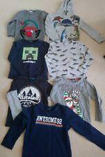 Boys 6-7-8 Winter Clothes & Christmas Jumper Bundle Minecraft Dinosaurs 7 Tops