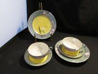 Set of 2 Sets Vintage Japan Eggshell Porcelain Hand Painted Cups and Saucers