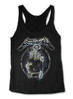 Metallica Ride The Lightning Girls Juniors Black Racer Back Tank Top Shirt New