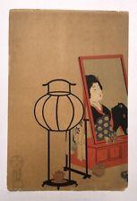 Estampe japonaise ancienne, Femme devant un miroir, Scène d'intérieur, XIXe