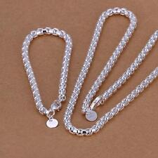 925 sterling silver Plated women MEN CHAIN new Bracelet necklace jewelry set S58