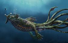 Stampa incorniciata-GIGANTE MOSTRO MARINO attaccando un DEEP SEA DIVER (PICTURE Dragon ART)