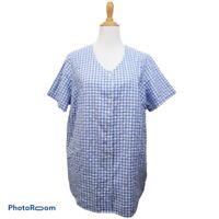 Woman Within Blue White Square Button Down Cotton Shirt Top Plus Size 18/20