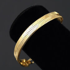 Mens 14K Yellow Gold Plated 8in Herringbone Link Bracelet 7 MM