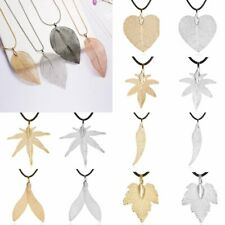 Natural Fish Real Dipped Maple Leaves Leather Rope Pendant Necklace Jewelry Gift