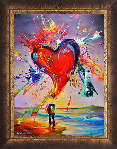 """Jim Warren-""""Love Is in the Air""""-Framed LE Giclee/Canvas/Hand Signed/AP Num/COA"""