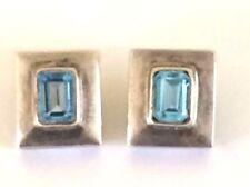 Vintage Modernist Sterling Silver 925 Blue Topaz Geometric Halo Post Earrings