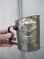 Vintage Bromwell's Metal Measuring 3 Cup Hand Crank Flour Sifter USA Made B8405