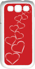 Valentine's Graduating White Hearts with Red BG Samsung Galaxy S3 Case Cover
