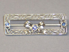 ANTIQUE 14K WHITE GOLD FILIGREE SAPPHIRE BAR PIN WITH BOW