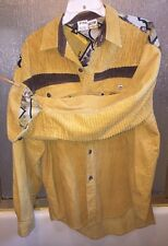 Major Damage Mens XL Hip Hop Country Western Yellow Corduroy Patchwork Shirt