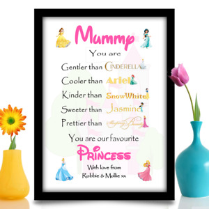 Birthday Gift for Mum Mummy Mother personalised Disney princess A4 print