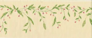 Pink Blooms and Blossoms on a Green Vine Wallpaper Border  EY4457B