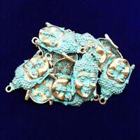 2Pcs Newest Carved Brass Bronze Buddha Head  Pendant Bead 47x28x5mm NN1068