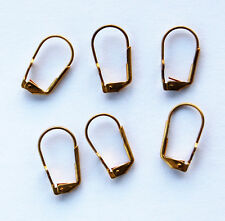 VINTAGE 3 PAIRS LEVER BACK PIERCED EARRING WIRES EAR WIRE AGED RAW BRASS DOT PAD