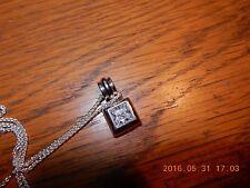 """Milor Princess Cut CZ Slide Sterling Pendant Necklace 7g Solid 20"""" 925 w/chain"""