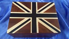 LARGE UNION JACK FLAG DESIGN SHEESHAM WOOD BOX WITH MAGNETIC LID