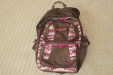 "Jansport Expandable Brown w/ Hearts Pink Trim Backpack Backpac Fits 17"" Laptop"