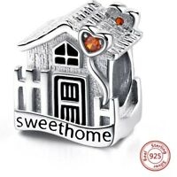 🏡 PERFECT HOME SWEET CHARM NEW STERLING SILVER 925 CHARM BEAD PENDANT GIFT CZ