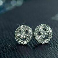 0.50 Ct Round Cut VVS1 Diamond Face Emoji Stud Earrings 14k White Gold Finish