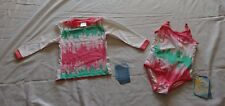Girls size 3 One piece BATHERS Zig Zag & Long sleeve Rash vest UPF50+ NEW