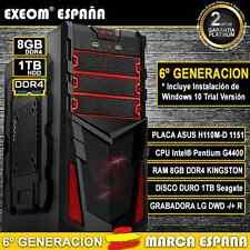 ORDENADOR GAMING INTEL G4400 8GB RAM DDR4 1TB USB3.0 PC SOBREMESA MARCA ESPAÑA