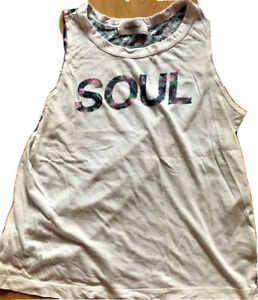 SOULCYCLE Tank Top White & Blue Pink Floral  SOUL size S Run Spin Cycle Fun