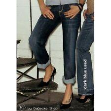 Stretch Baggy Jeans mit Goldverzierungen Damen Hose dark blue used NEU