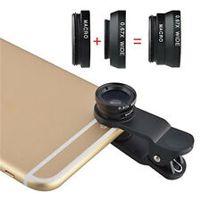 3in1 Fish Eye + Wide Angle Micro Lens Camera Kit for iPhone 5G 4S 4 i9300 Set EY