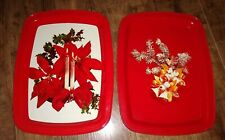Metal Red Christmas Poinsettia Candles Pine Tree Serving Trays Set of 2 Vintage
