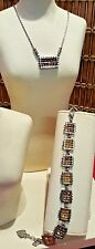 Brigton Crystal Bead Necklace & Bracelet -Yellow Silver NWT