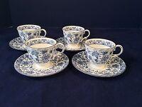 MINTON SHALIMAR SET 4 COFFEE DEMITASSE ESPRESSO CUPS SAUCERS BLU FLORAL ENGLAND