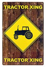"11"" x 17"" Tin Metal Sign Caution Tractor Xing Crossing Farming Farmer Funny"