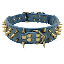 Brass Spiked Studded Blue PU Leather Dog Collar for Pitbull Rottweiler Mastiff