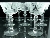 "9 Vintage Tiffin FUCHSIA 5 3/8"" TALL SHERBET CHAMPAGNE Glasses Stem 15083 Clear"