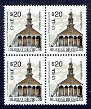 CHILE 1993 STAMP # 1601 MNH BLOCK OF FOUR HERITAGE CHILOE'S CHURCH