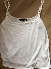 New Look Crochet Daisy Trim Cami Vest Top, White, Size 12