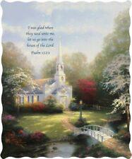 THOMAS KINKADE THROW : HOMETOWN CHAPEL PSALM CHURCH PRAYER BIBLE QUILT BLANKET