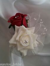 Wedding Double Buttonhole, Ivory, Red, Pearls & Ivory Ribbon Loops